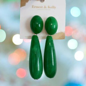 🆕NWT Ernest & Kelly Jade Green Pierced Earrings